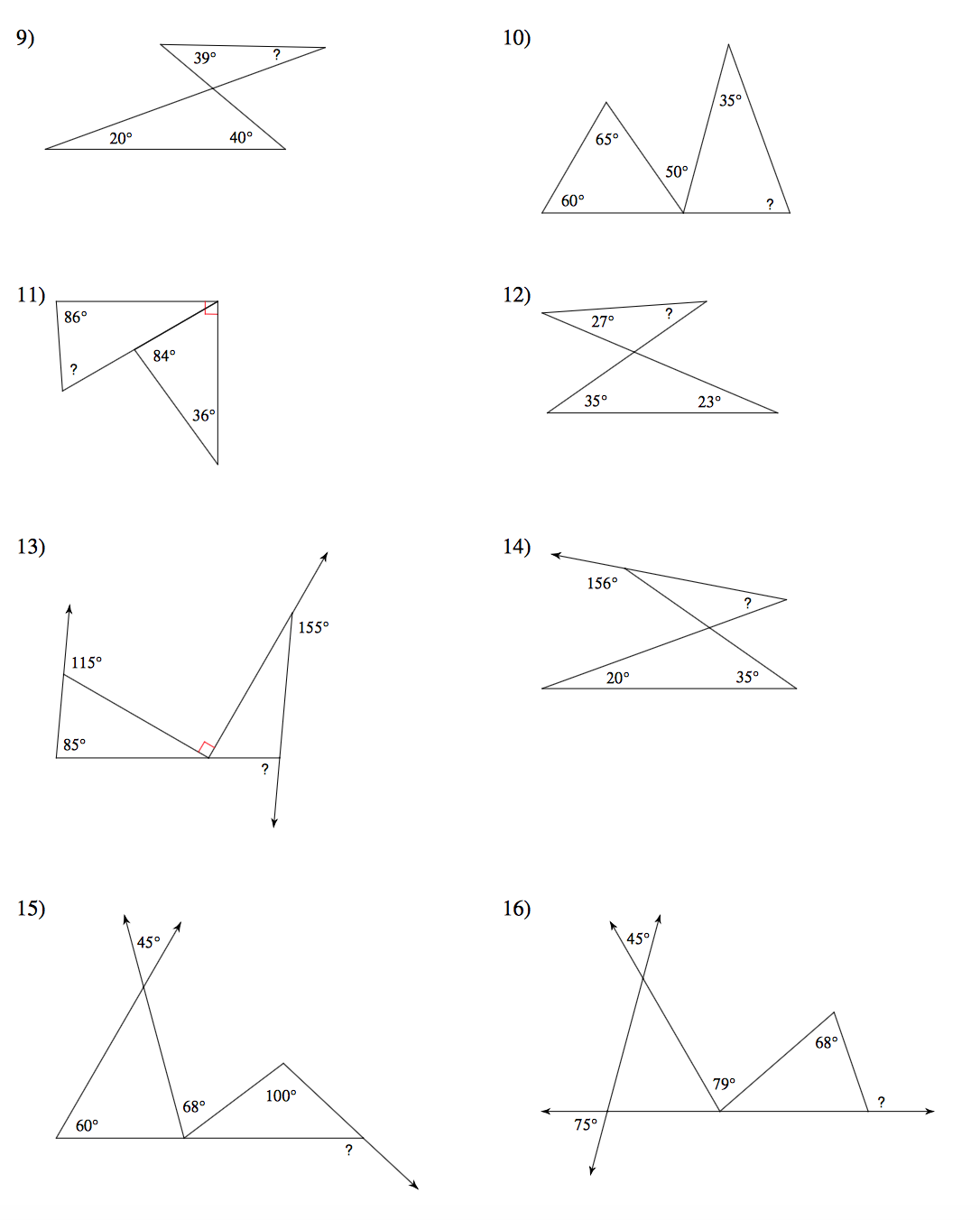 Exterior And Interior Angles Of A Triangle Worksheet