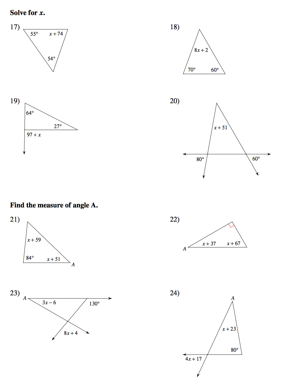 Exterior Angles Of A Triangle Worksheet Worksheets For All
