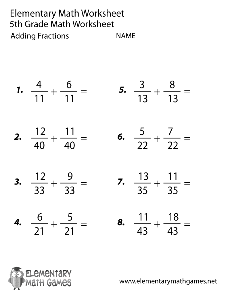 Fifth Grade Adding Fractions Worksheet