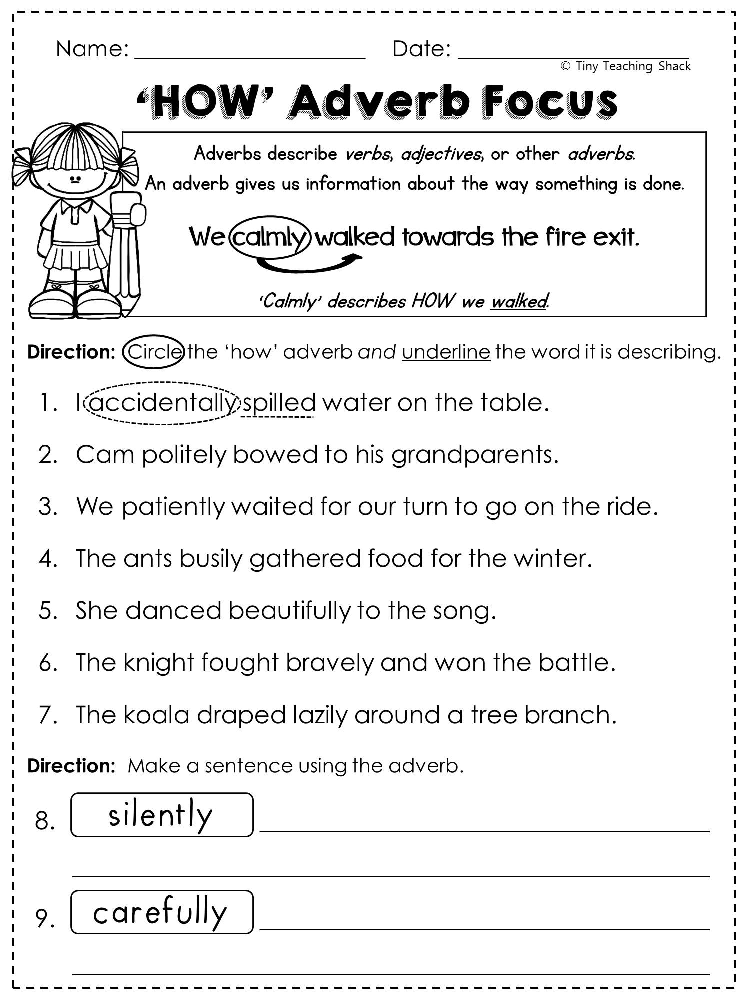 Free Adverb Worksheet Printables Pinterest Adverbs Worksheets