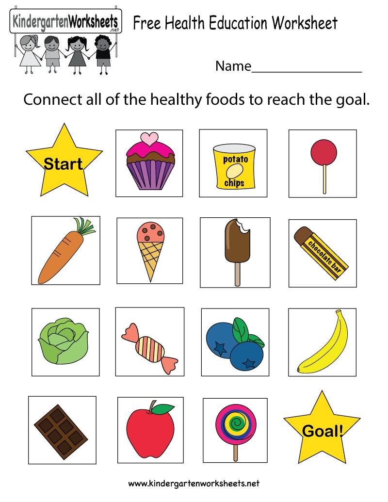 Free Kindergarten Health Worksheets