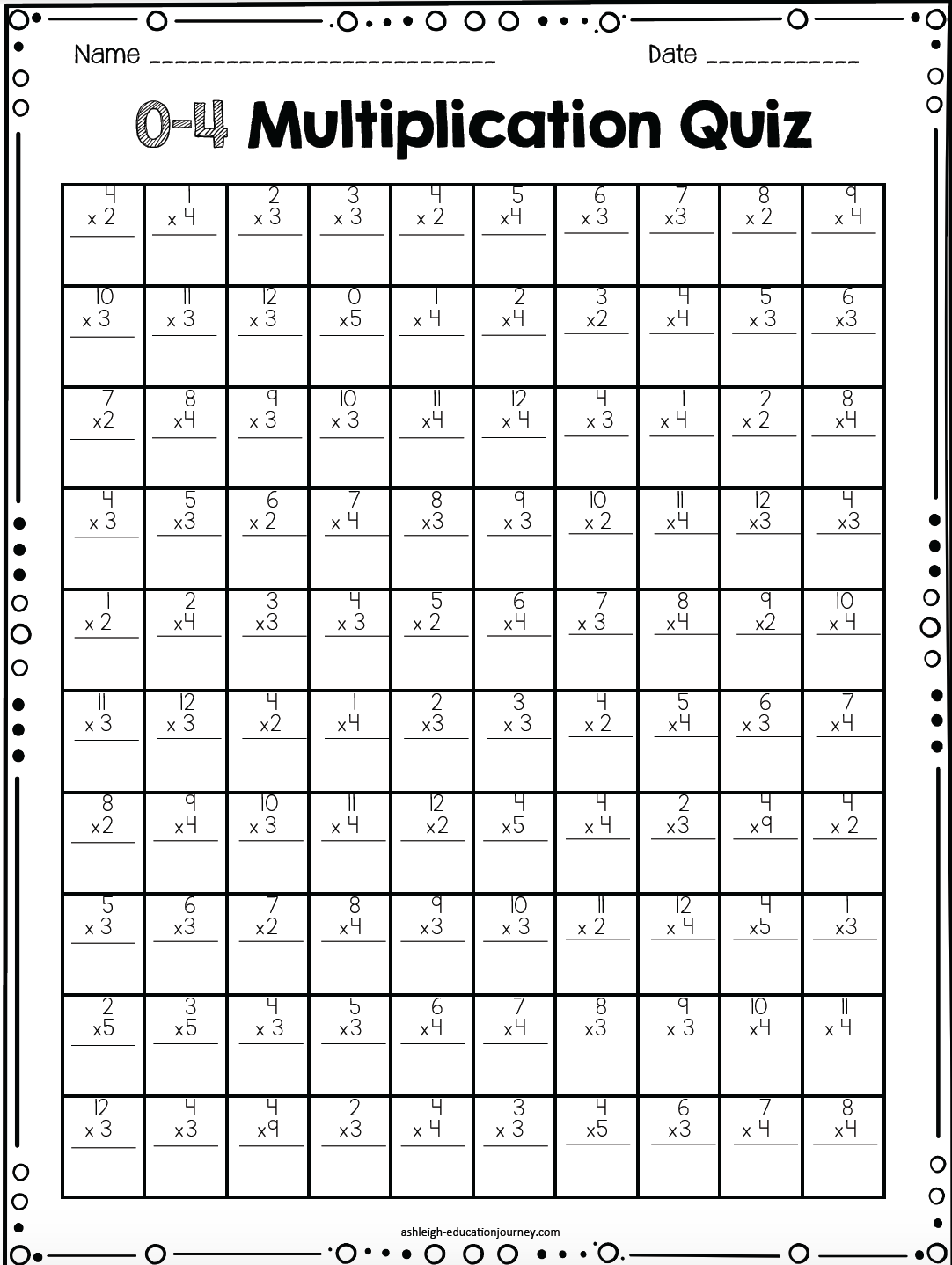 Free Multiplication Timed Test 100 Question And 20 Tests Printable