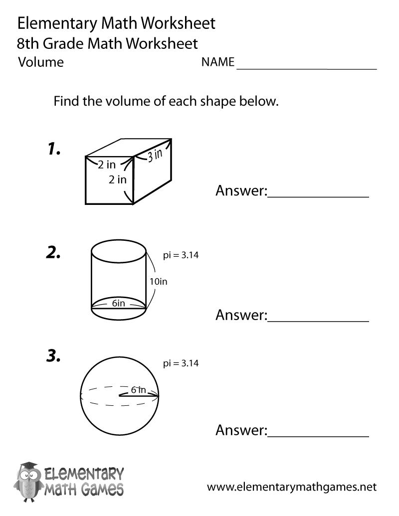 Free Printable Volume Worksheet For Eighth Grade