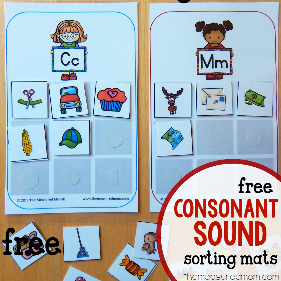 Free Sorting Mats For Learning Consonant Sounds
