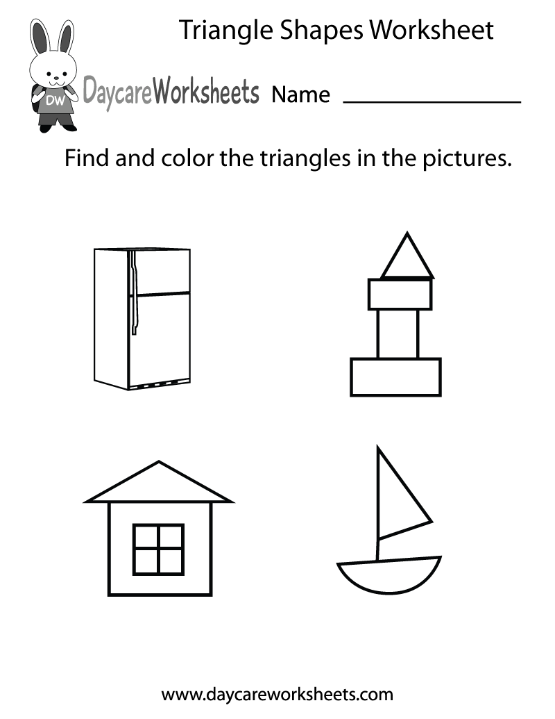Free Triangle Shapes Worksheet For Preschool