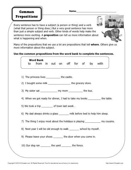 Free Worksheets With Prepositions