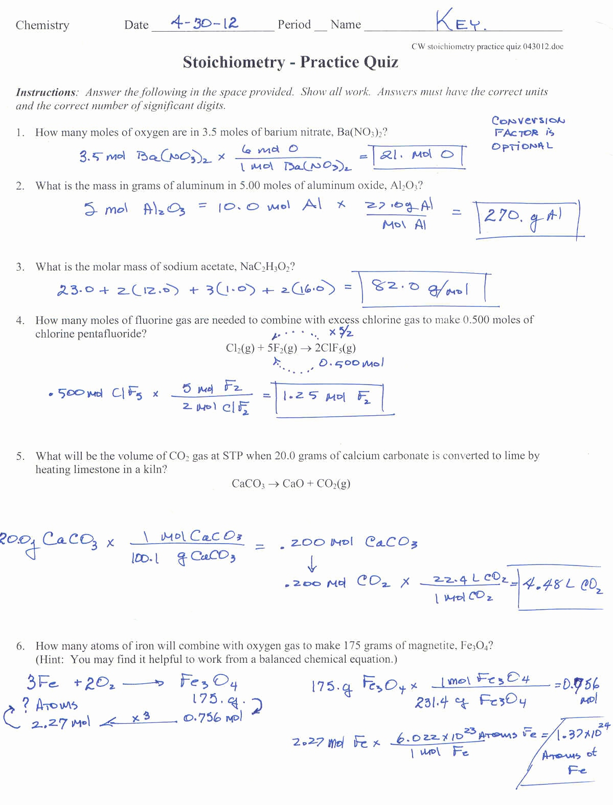 Gas Stoichiometry Worksheet Best Of Stoichiometry Problems ...