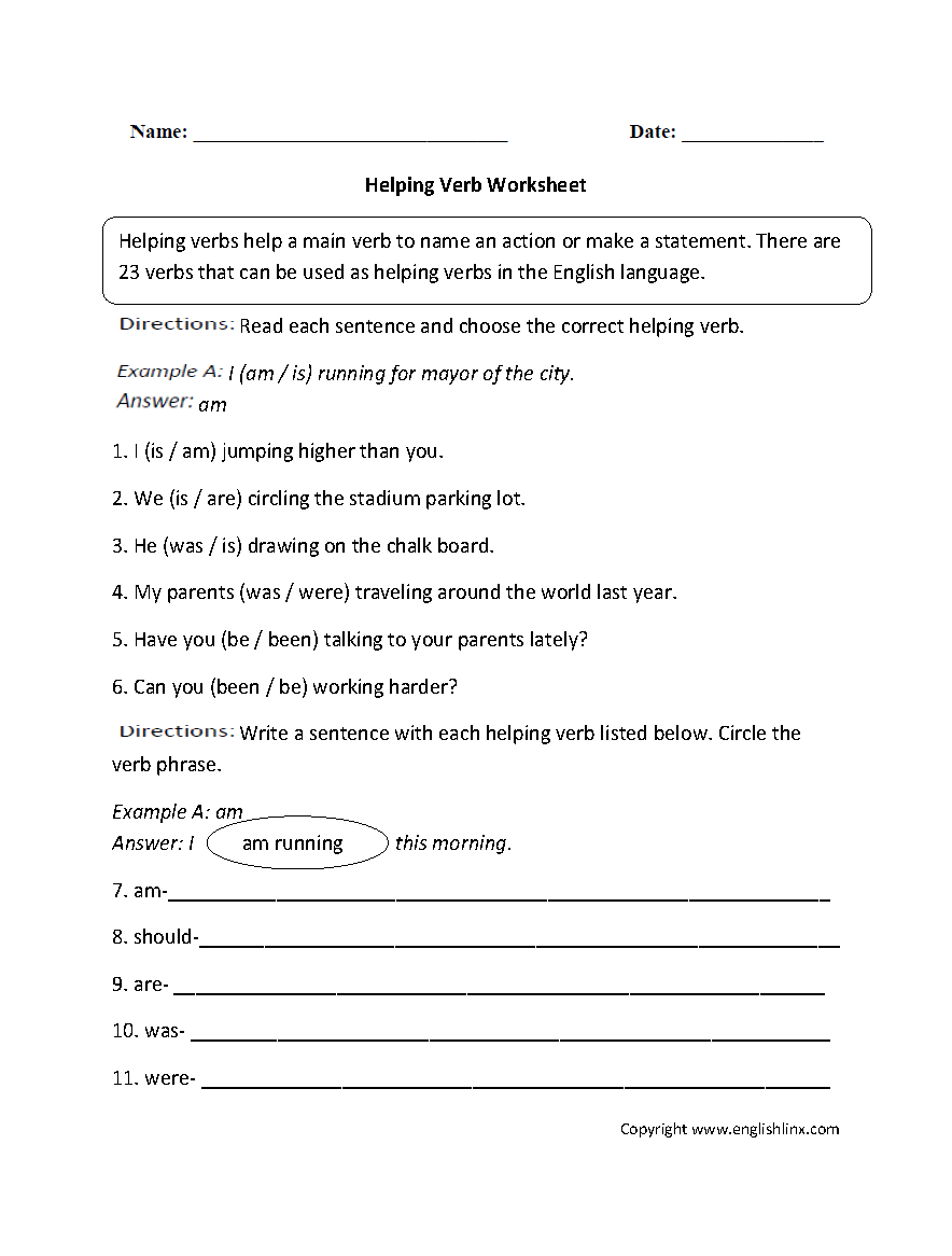 Helping And Linking Verbs Worksheet