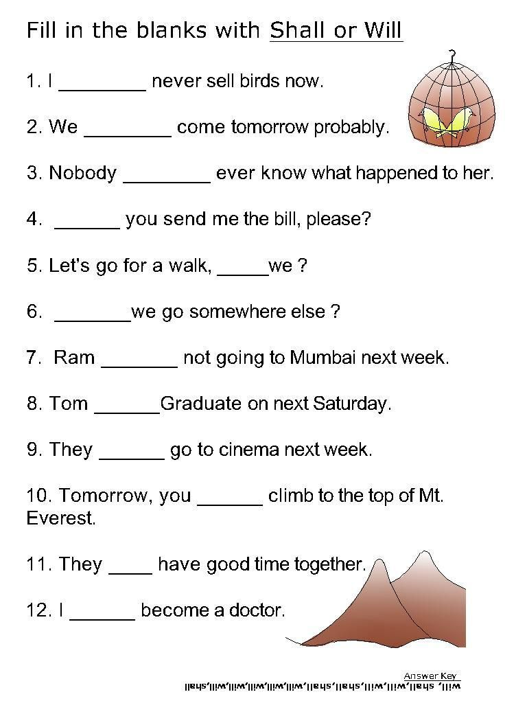 Helping Verb Worksheets For Will, Shall
