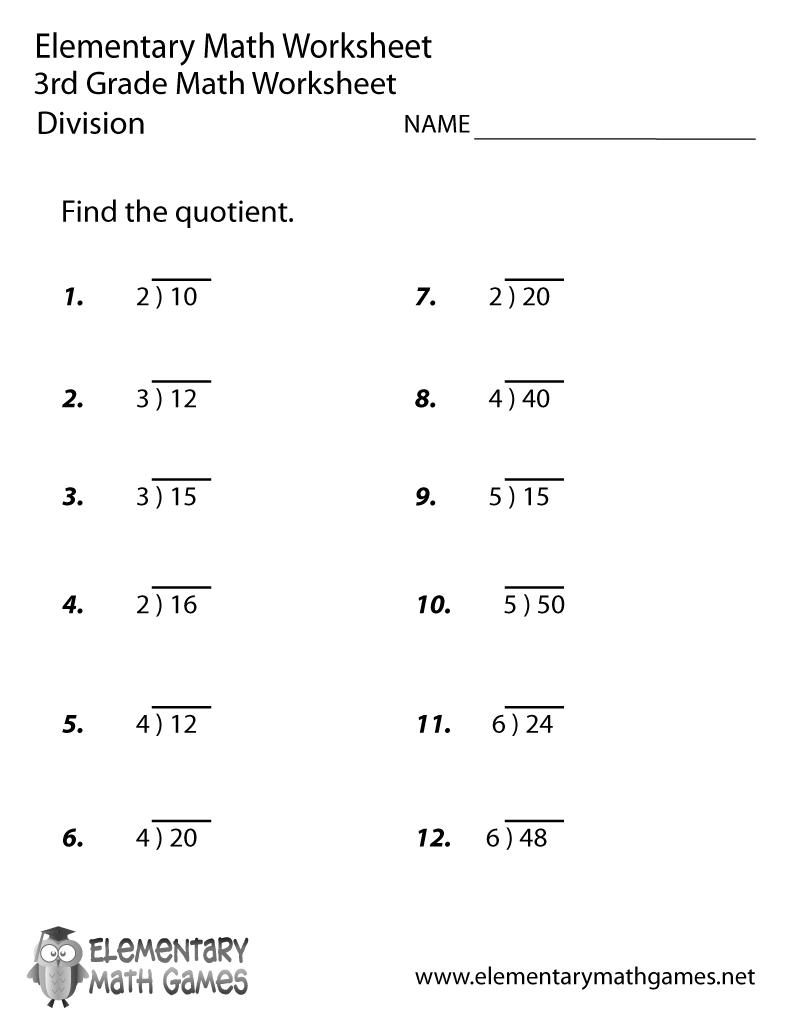 Kids  3 Grade Math Sheets  Third Grade Division Worksheet Math