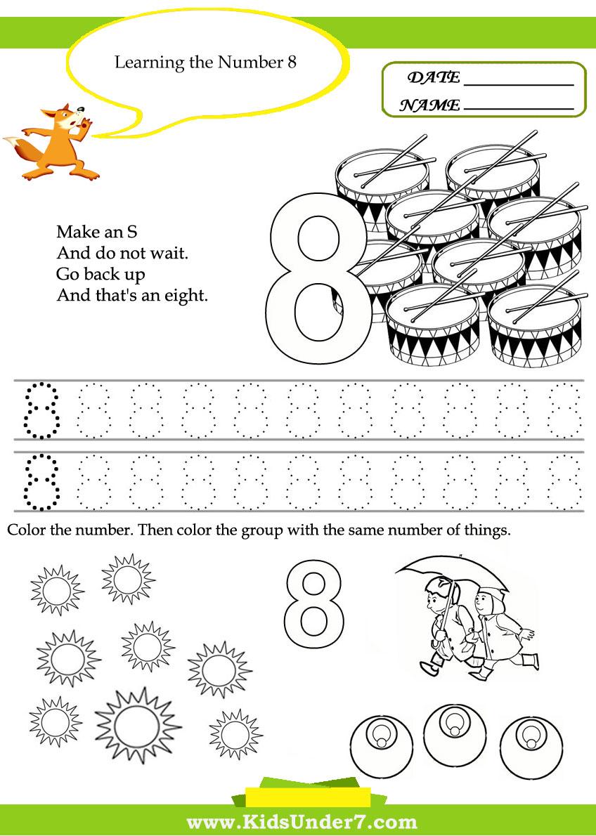 Kids   Kids Under Free Printable Kindergarten Number Worksheets