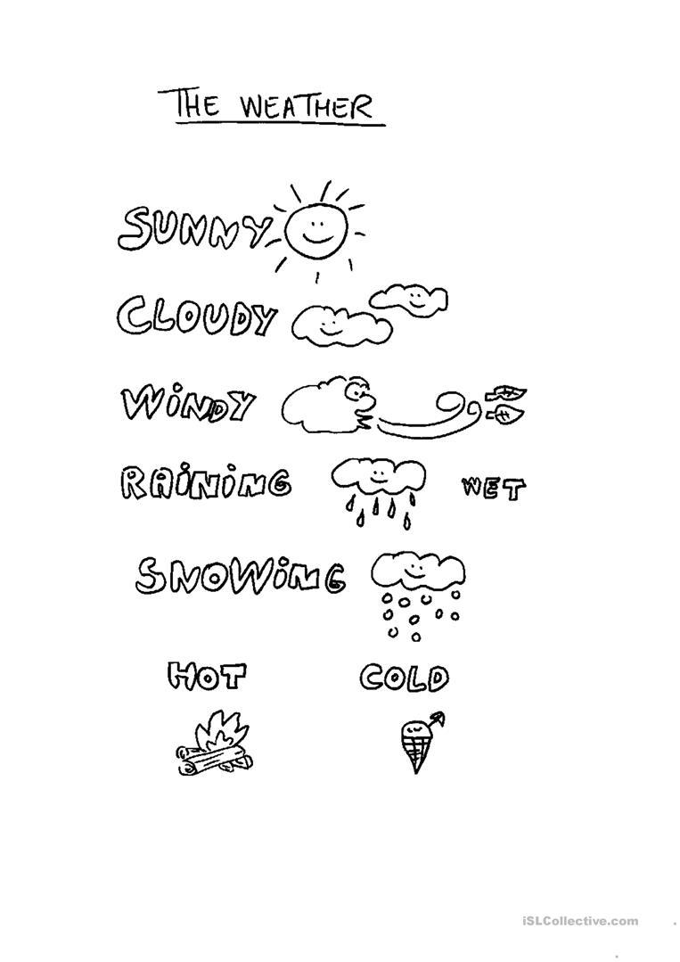 Kids  Children Worksheets  Weather For Children Worksheet Esl