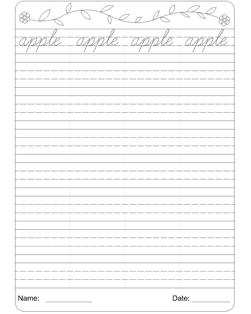 Kids  Grade 1 Writing Worksheets  Cursive Writing Worksheet A