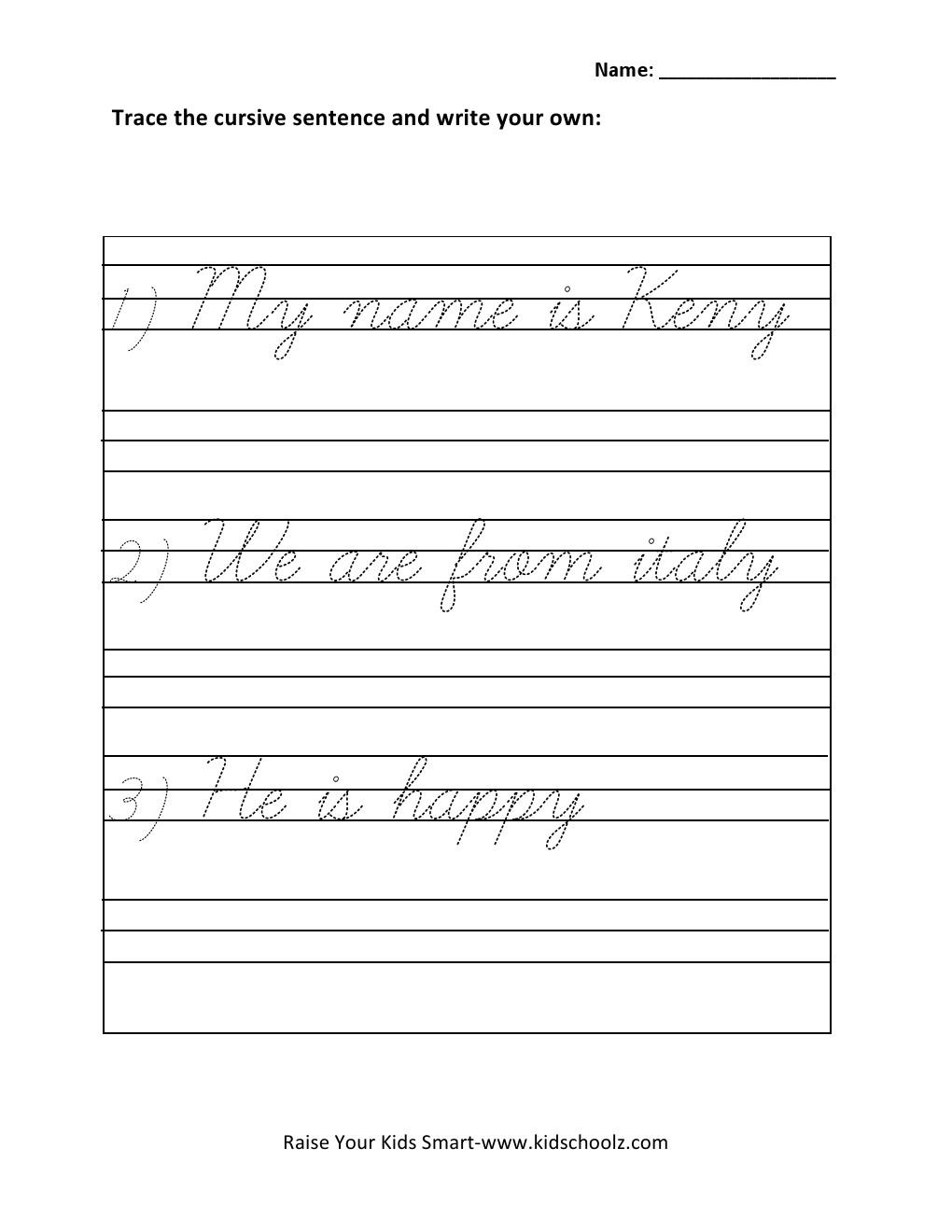 Kids  Writing Worksheet For Grade 1  Grade Cursive Writing