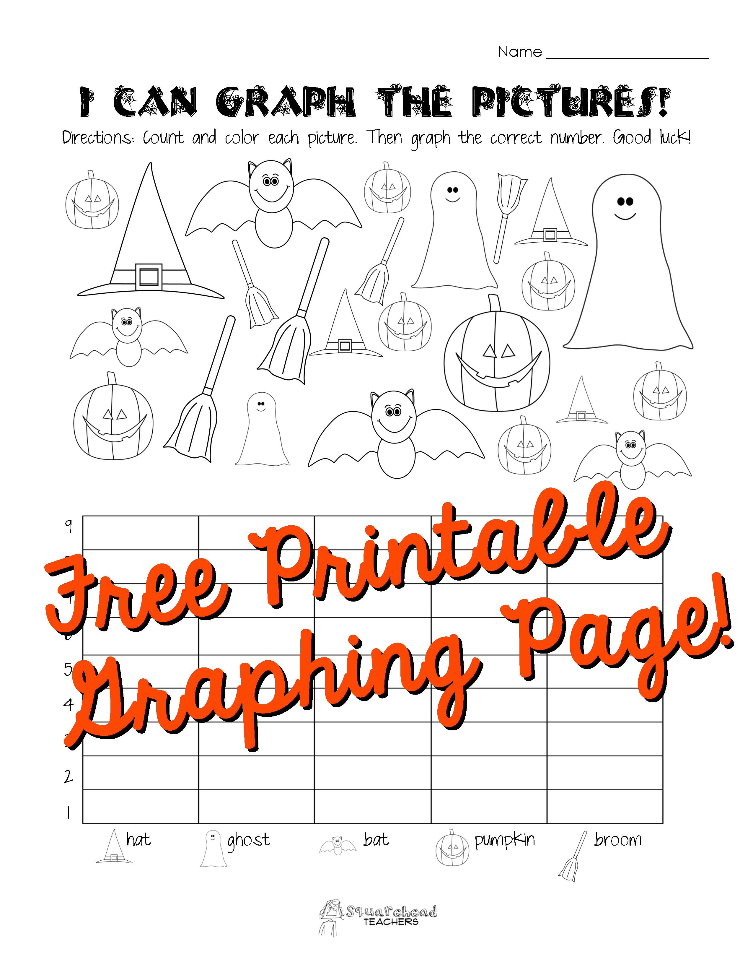 Kindergarten Graphing Worksheet I Can Graph The Pictures Halloween