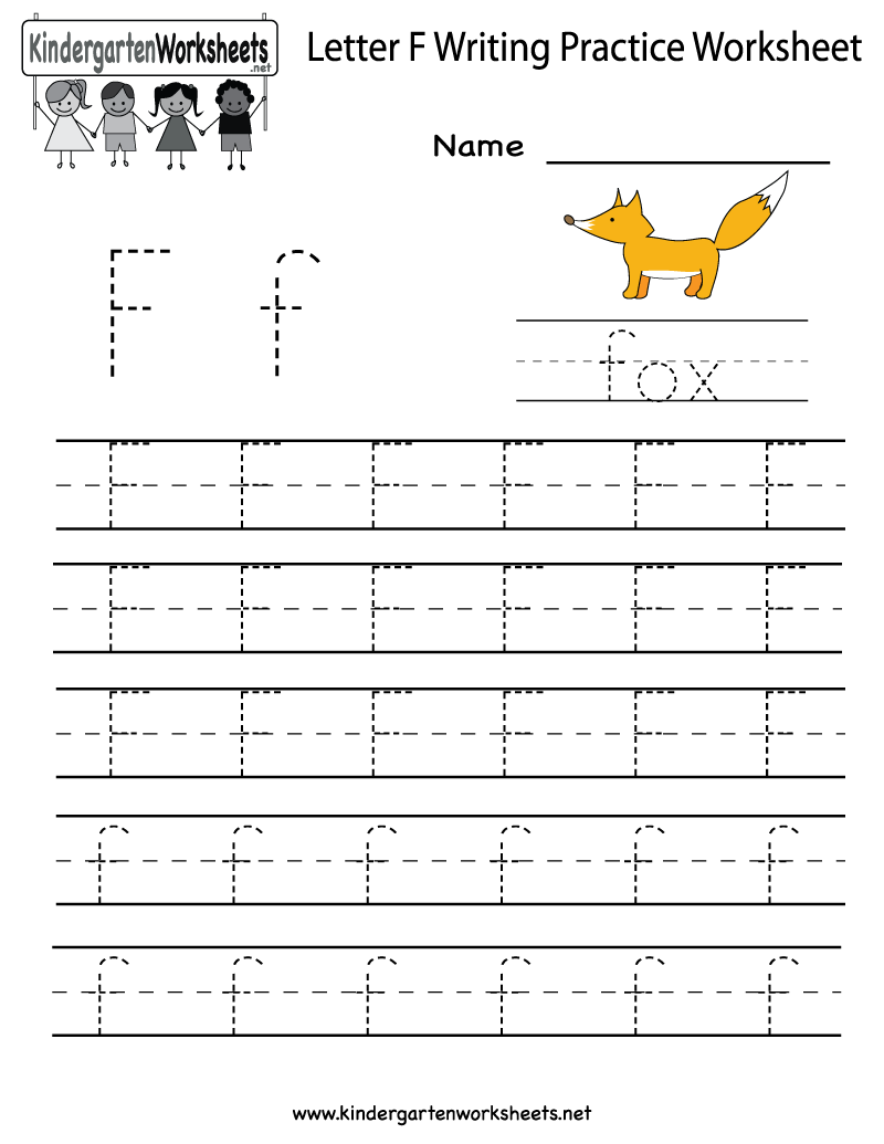 Kindergarten Letter F Writing Practice Worksheet Printable