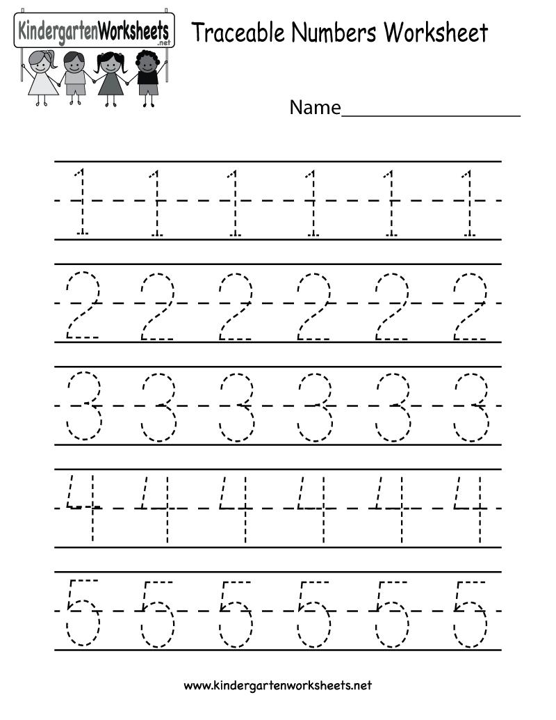 Kindergarten Traceable Numbers Worksheet Printable