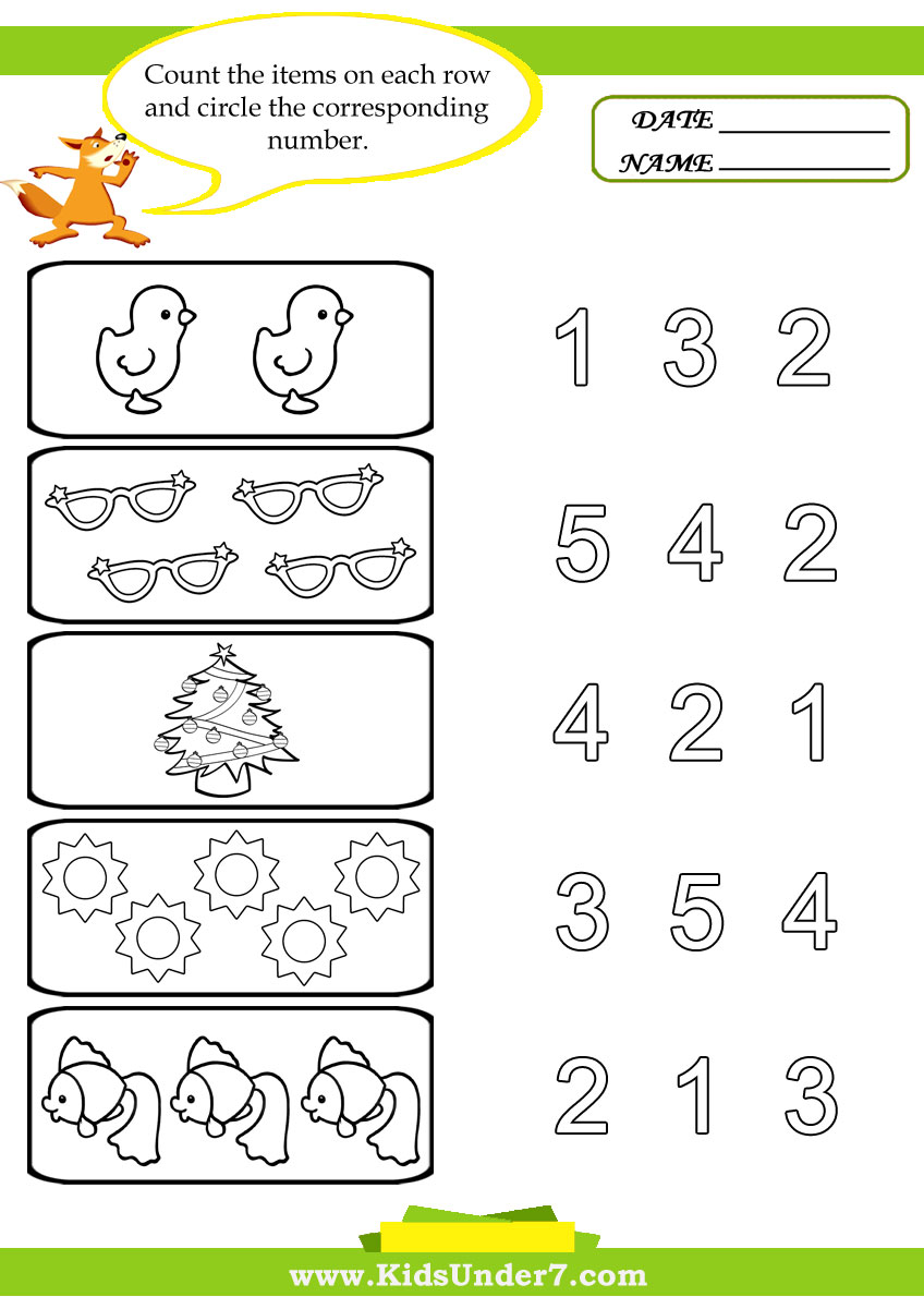 Kindergarten Worksheets Educational Fords Number Preschoolers Free
