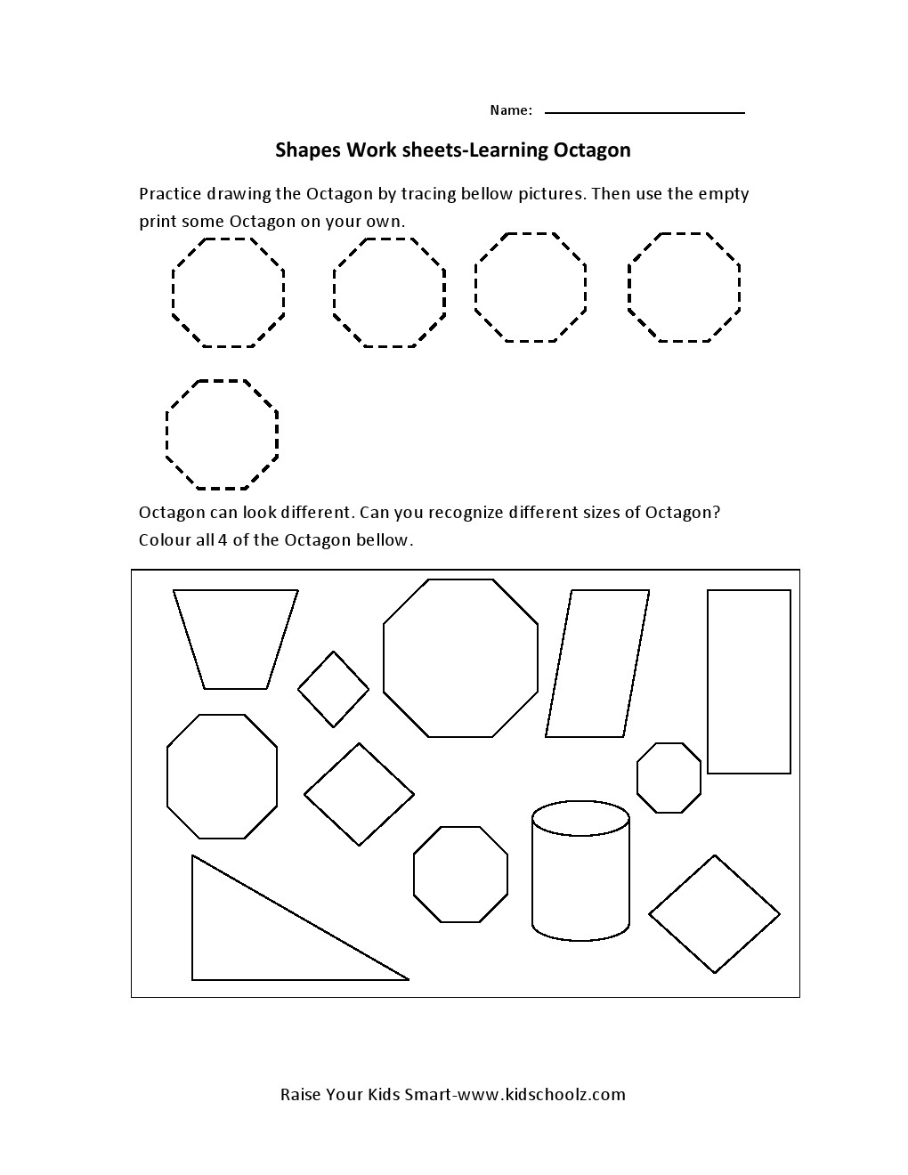 Learning Shapes Worksheets – Octagon