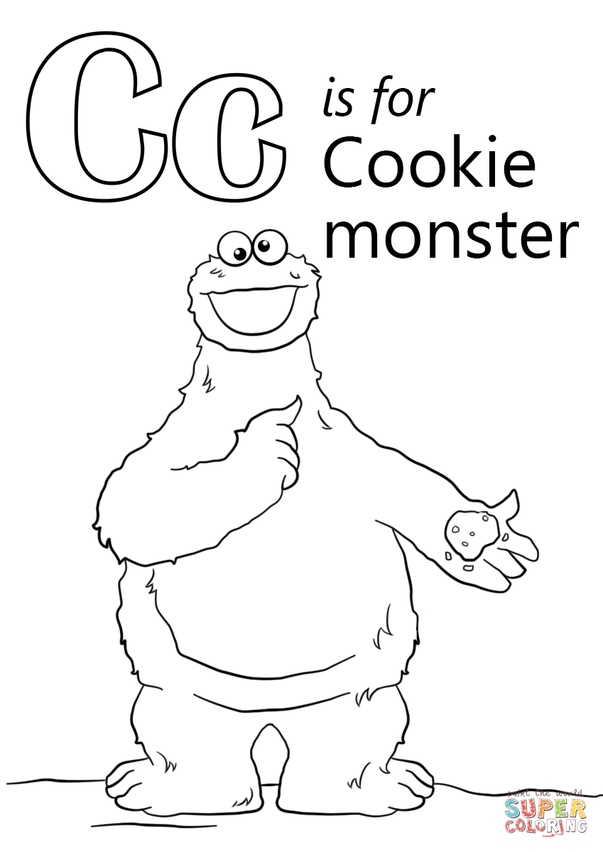 Letter C Is For Cookie Monster Coloring Page