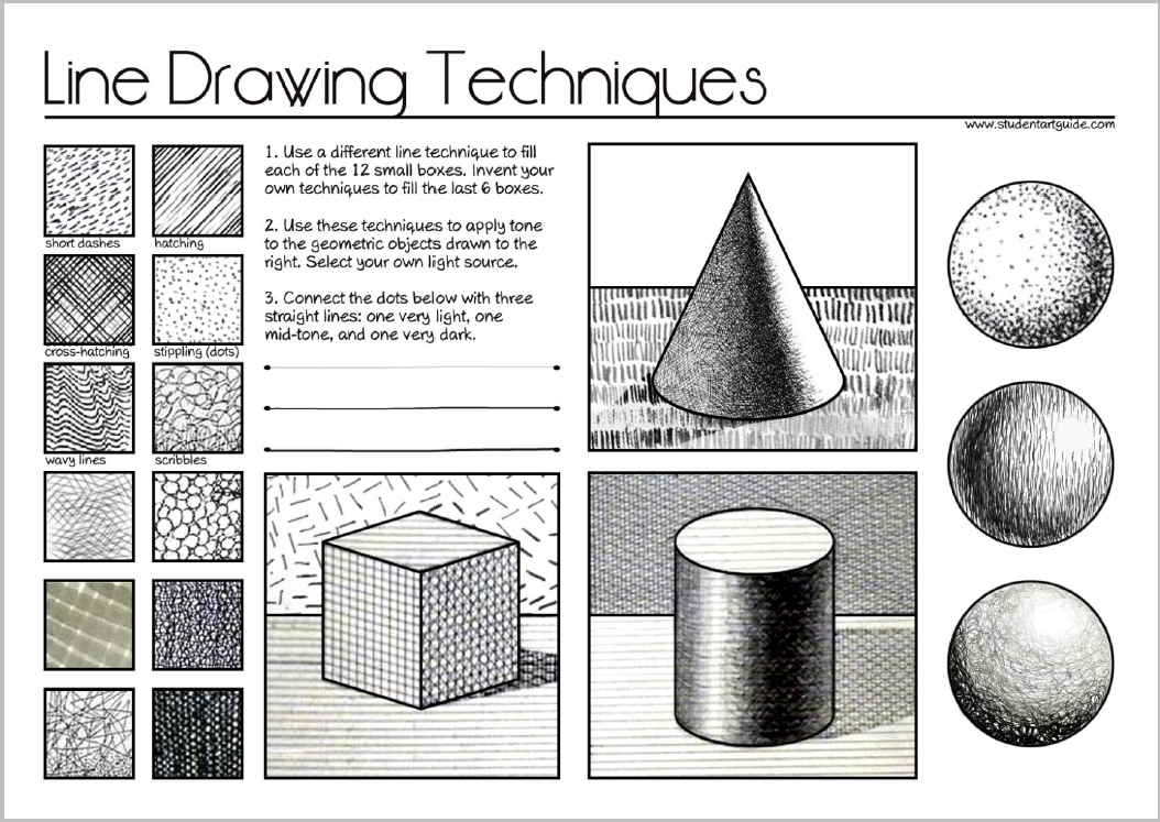 Line Drawing Vs Value Drawing : Shading techniques worksheet resultinfos