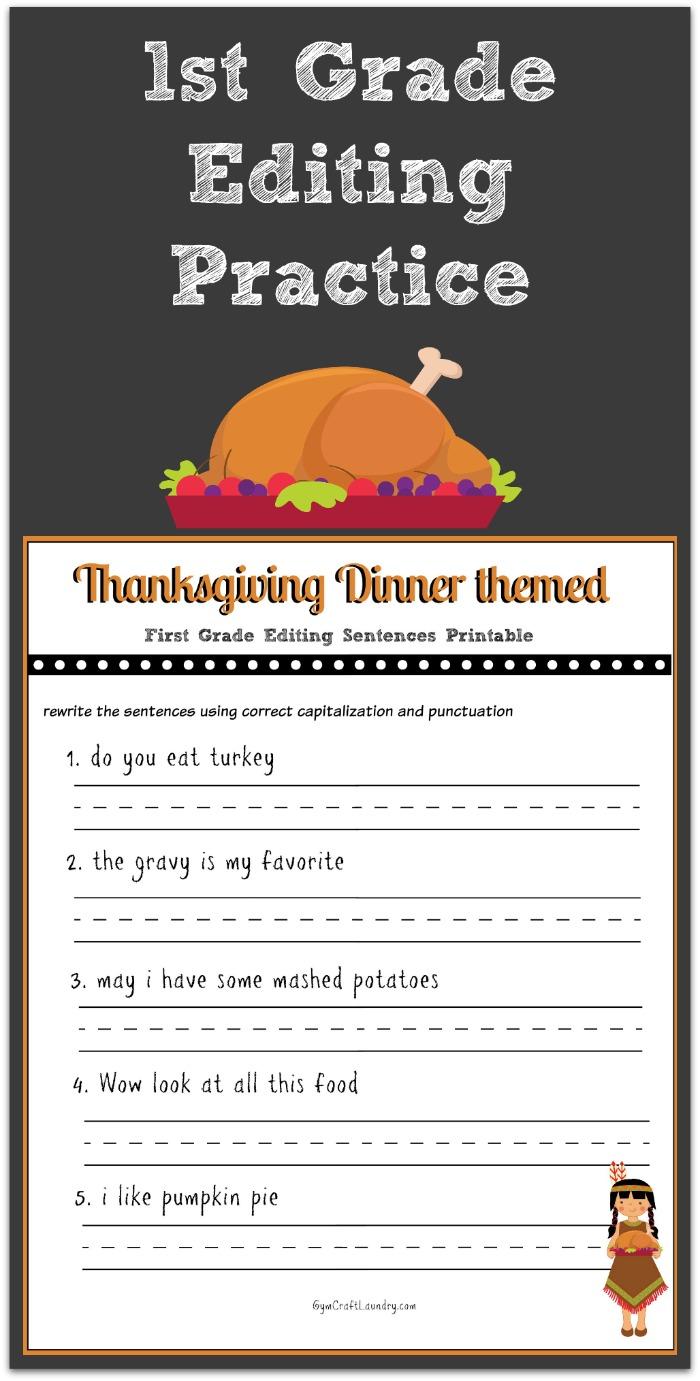 Math  3rd Grade Editing Worksheets  Editing Thanksgiving