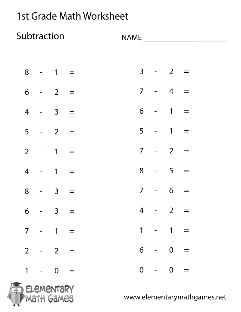 Math  Free First Grade Printables  First Grade Subtraction