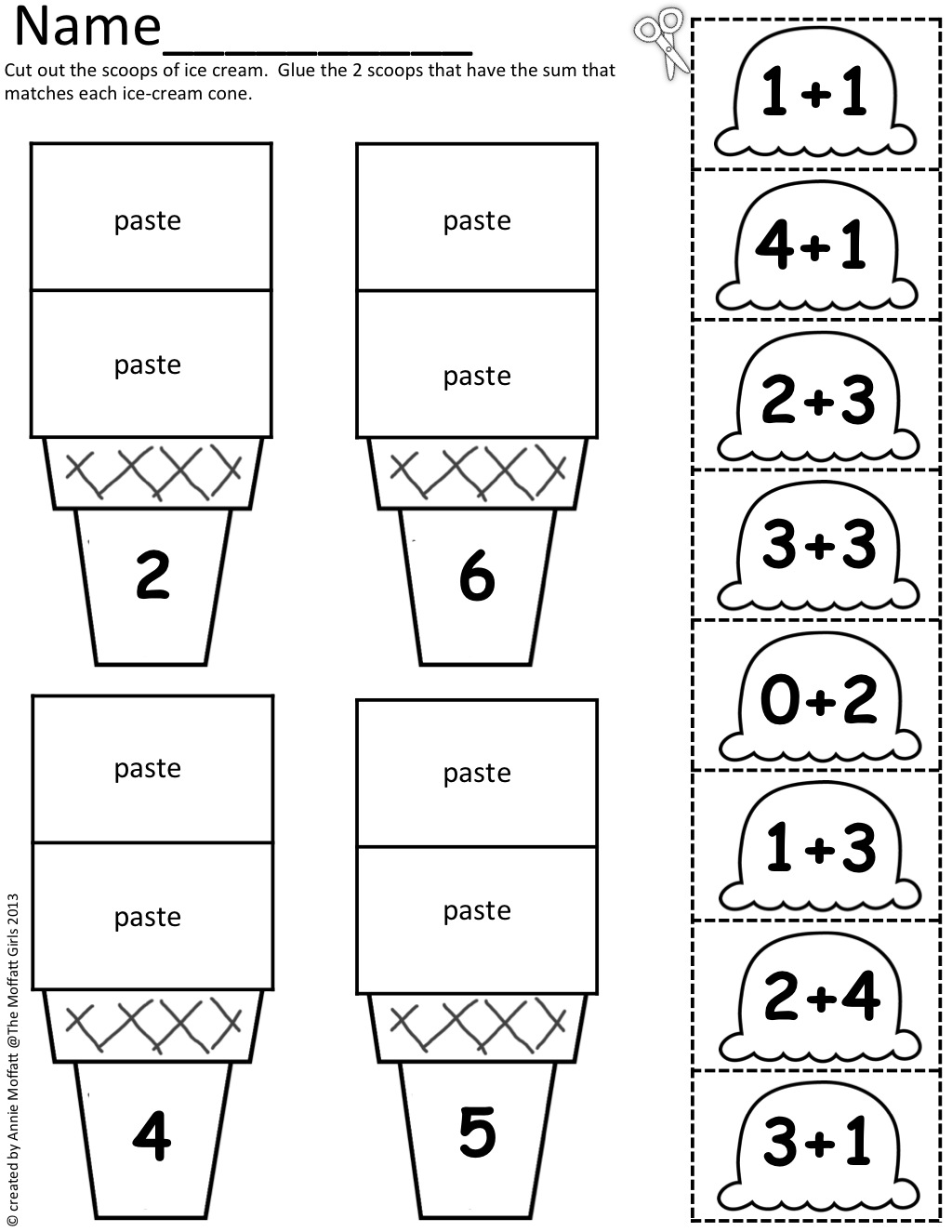 Math Scoops! Cut And Paste (addition Up To 20)!