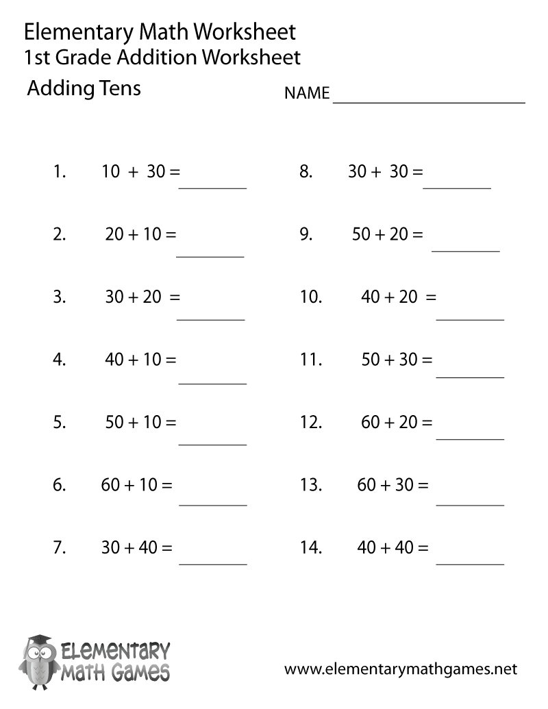 Math Sheets For First Graders Worksheets For All
