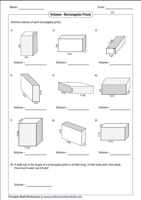 Math Worksheets Volume 4th Grade