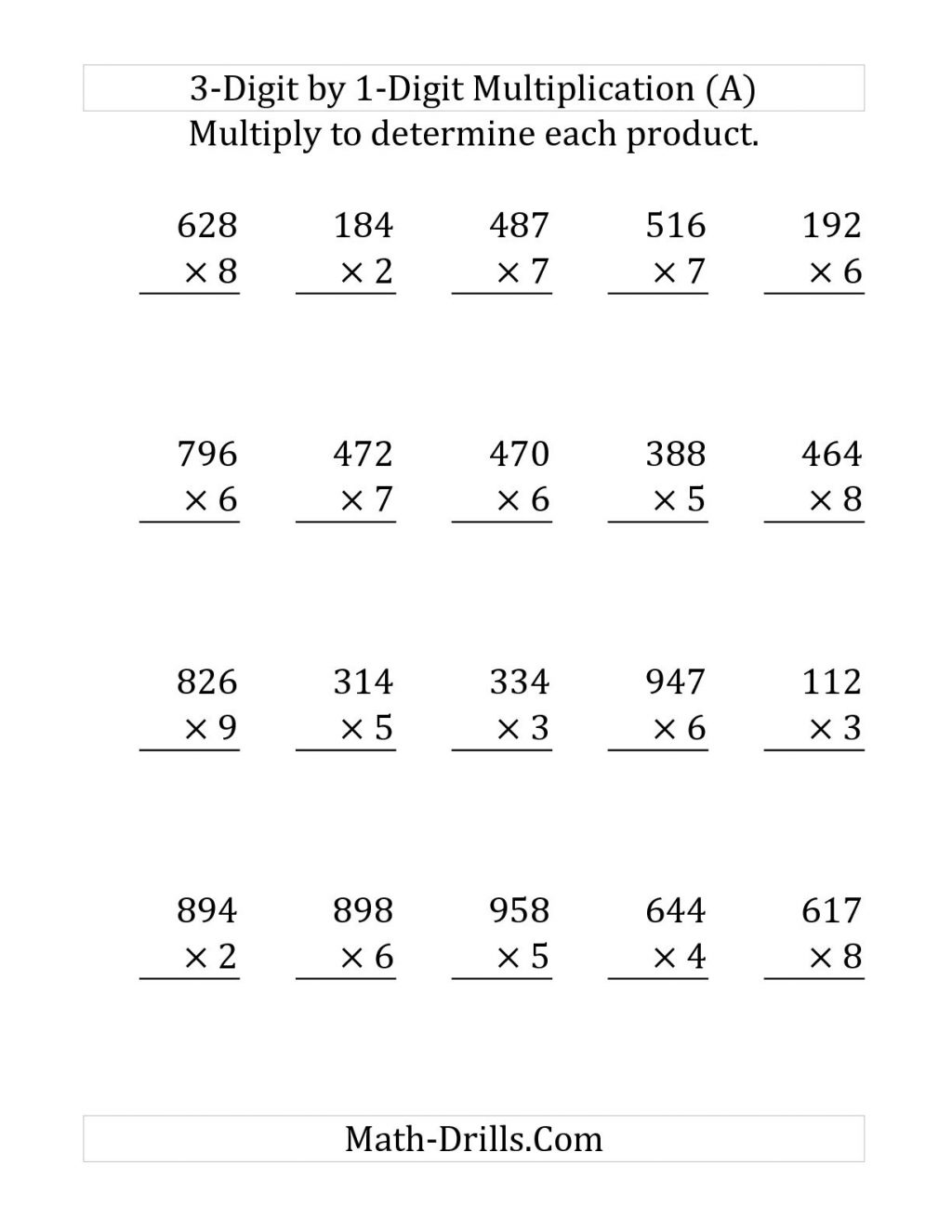 Math Worksheetson Digit By Free Without Regrouping Grid Method