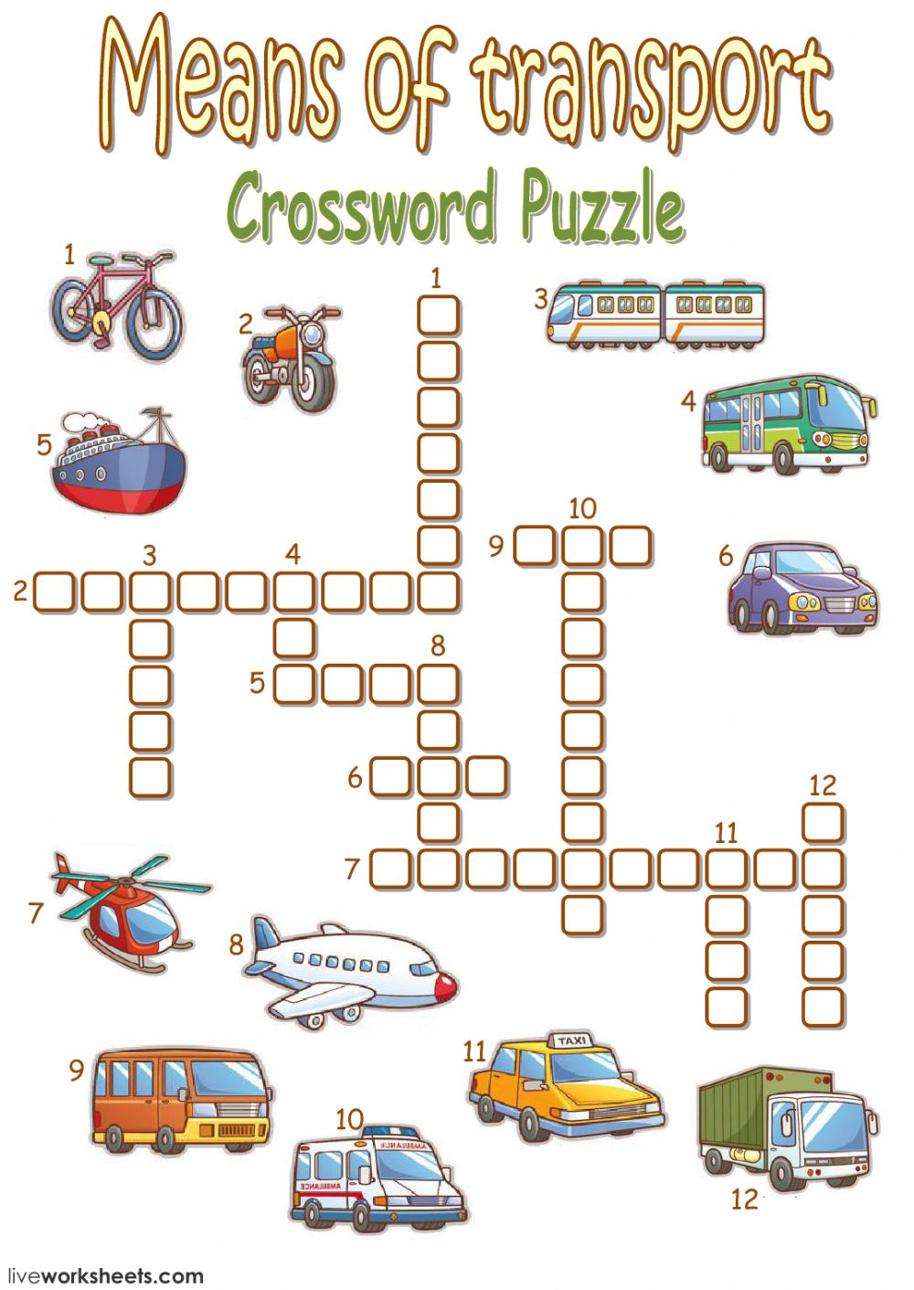 Means Of Transport Crossword Puzzle