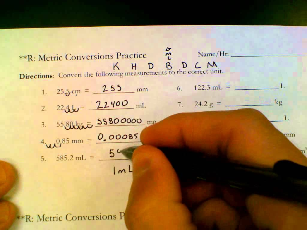Metric Conversions Practice Answer Key