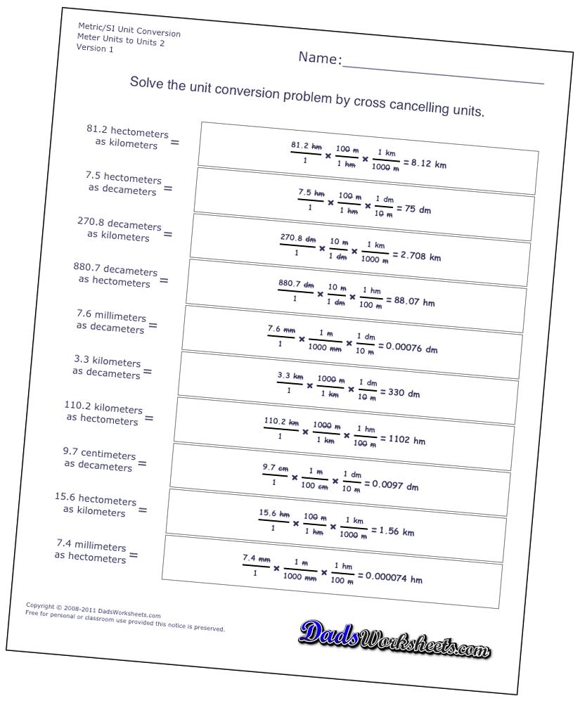 Metric Unit Conversion Worksheets