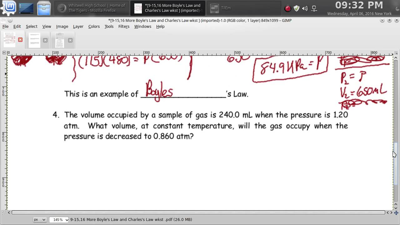 More Boyle's Law And Charles's Law Worksheet â Episode 902 ...