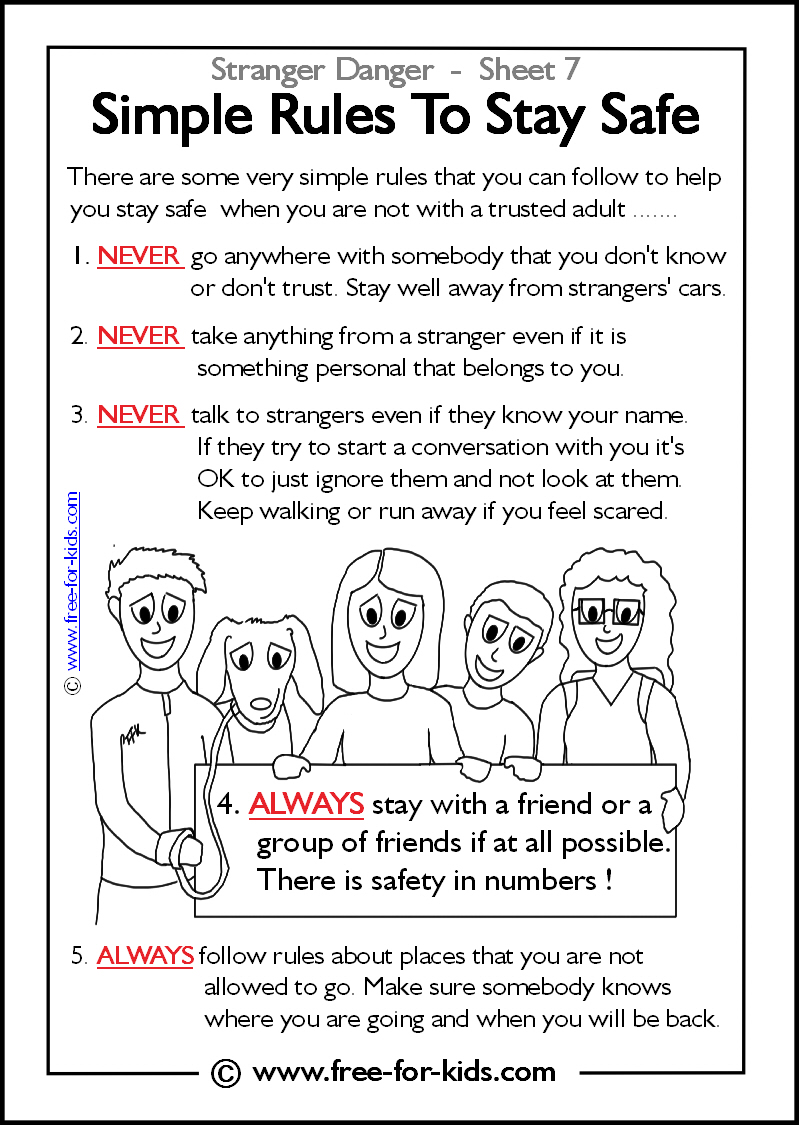 More Stranger Danger Worksheets And Colouring Pages