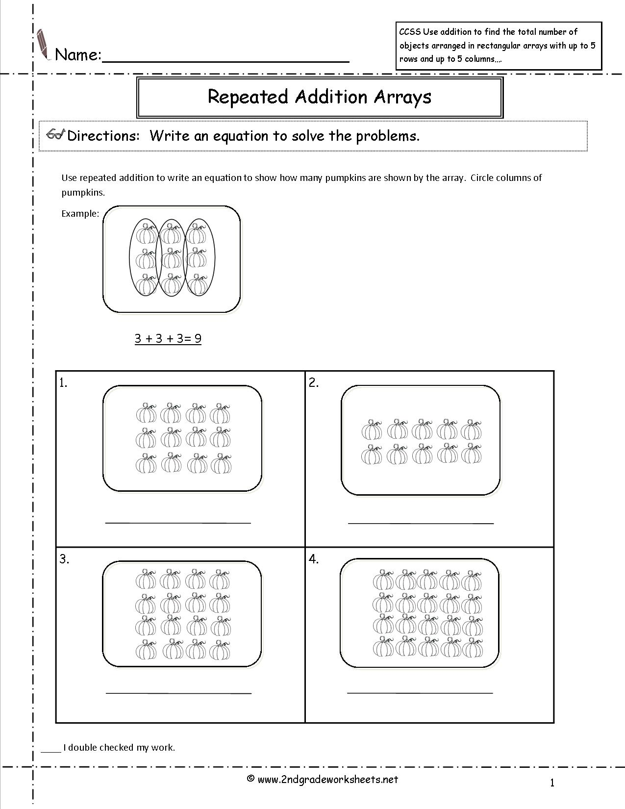 Multiplication With Arrays Worksheets Printables Printable Math