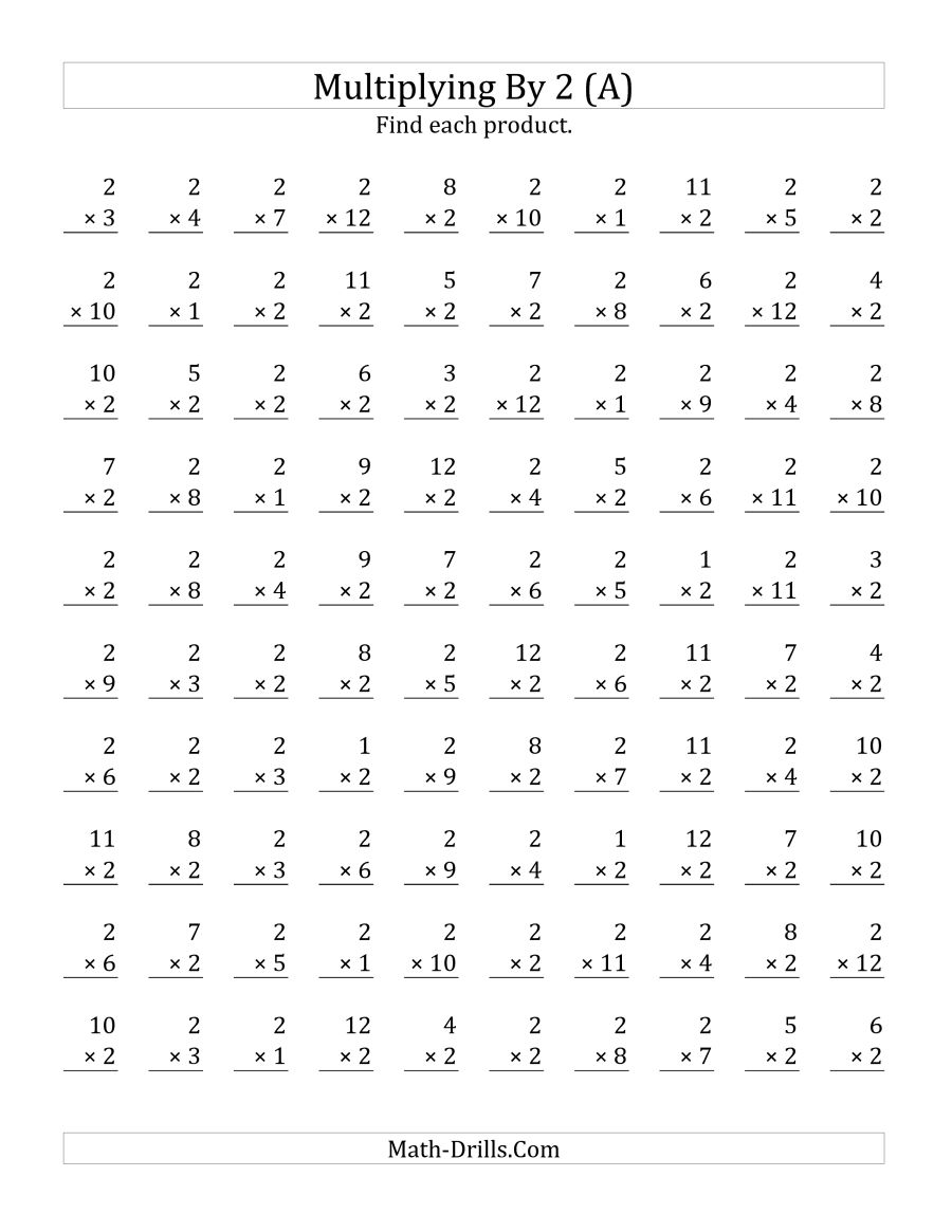 Multiplying 1 To 12 By 2 (a)