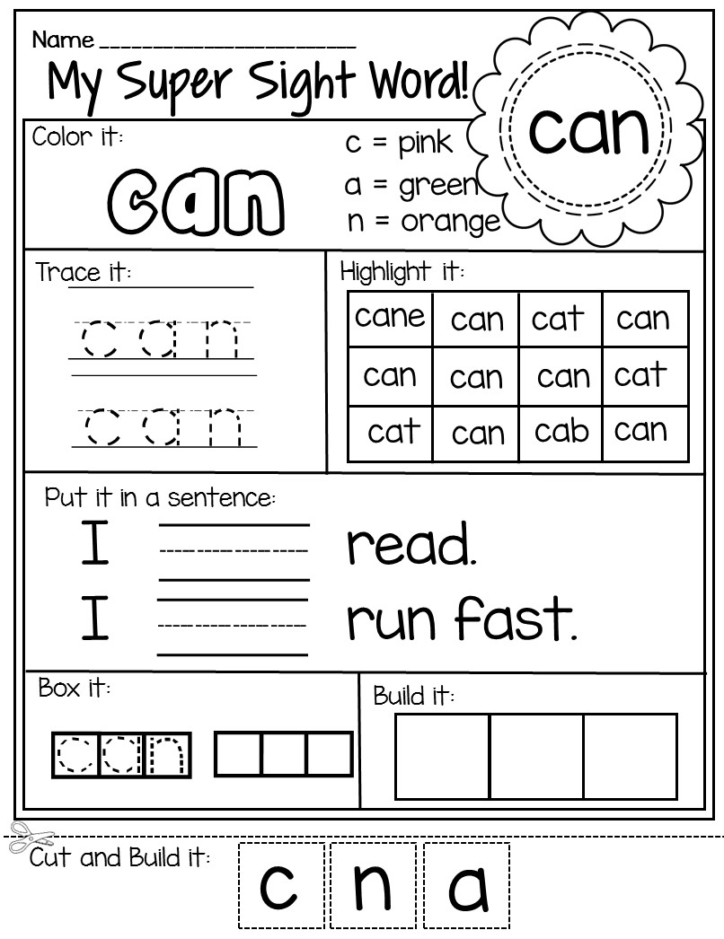 Can Sight Word Worksheets