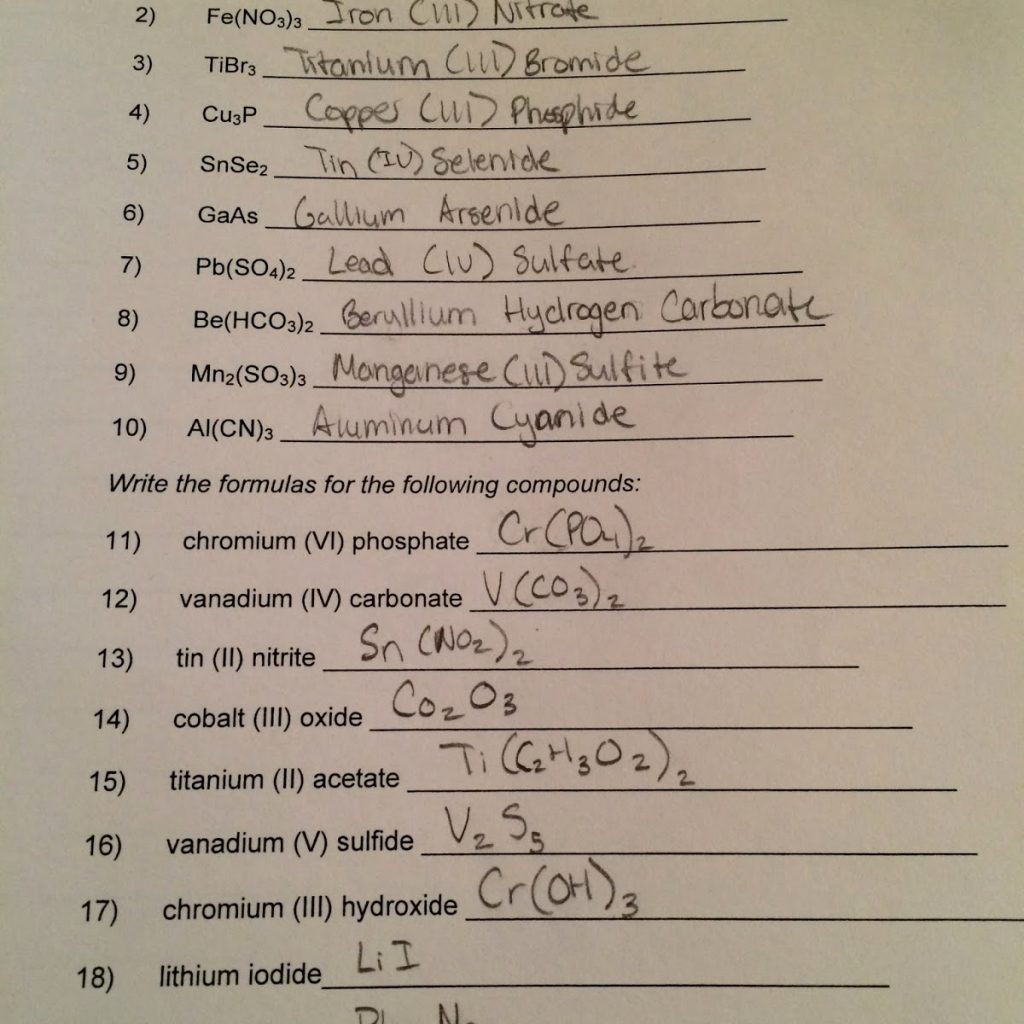 Binary ionic compounds worksheet answers