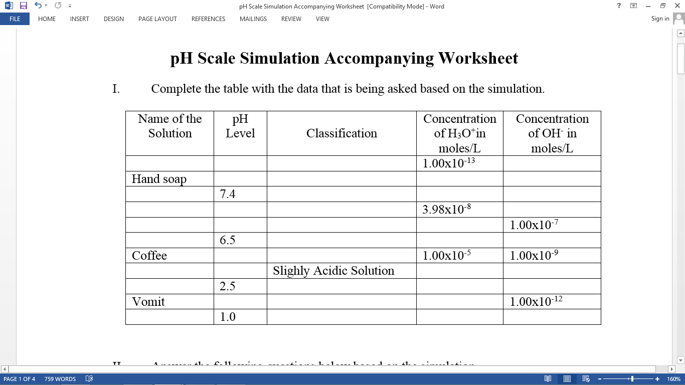 Ph Scale Worksheets Free Worksheets Library