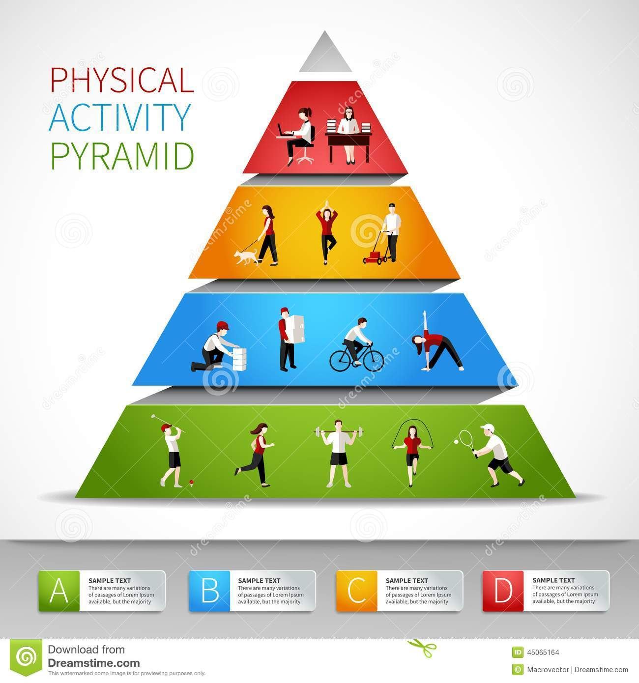 Physical Activity Pyramid Infographic Stock Vector