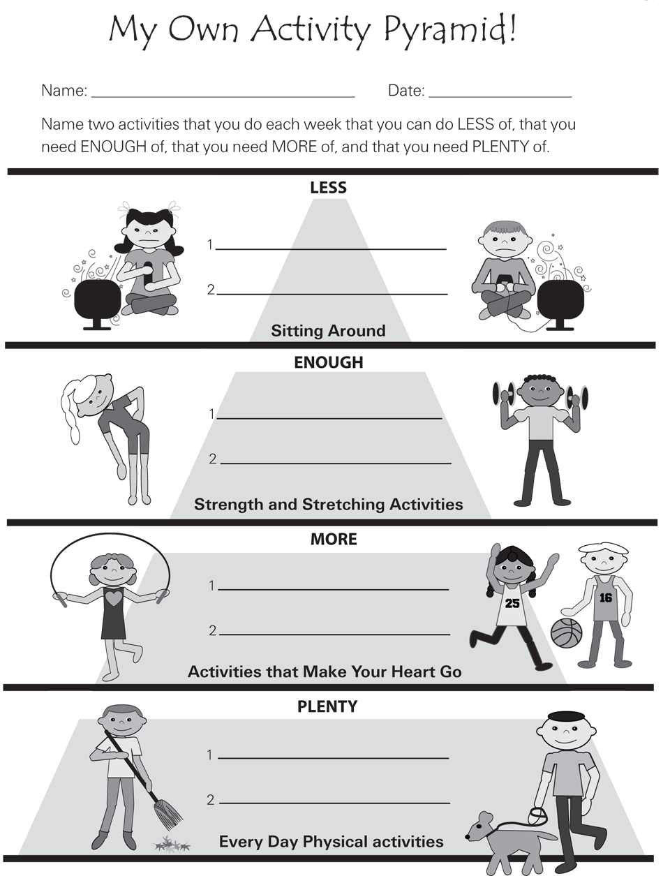 Physical Fitness Worksheet Worksheets For All
