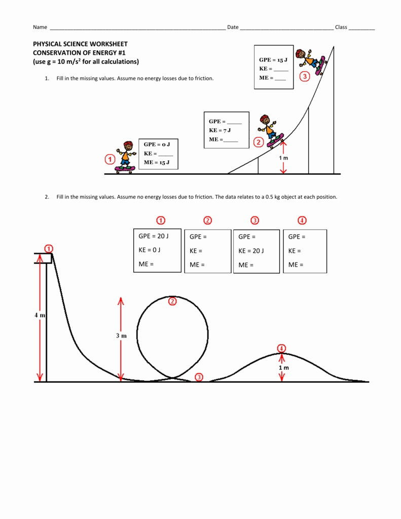 Physical Science Worksheet Conservation Of Energy 2 Answers
