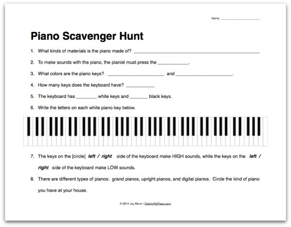 Piano Lesson Worksheets