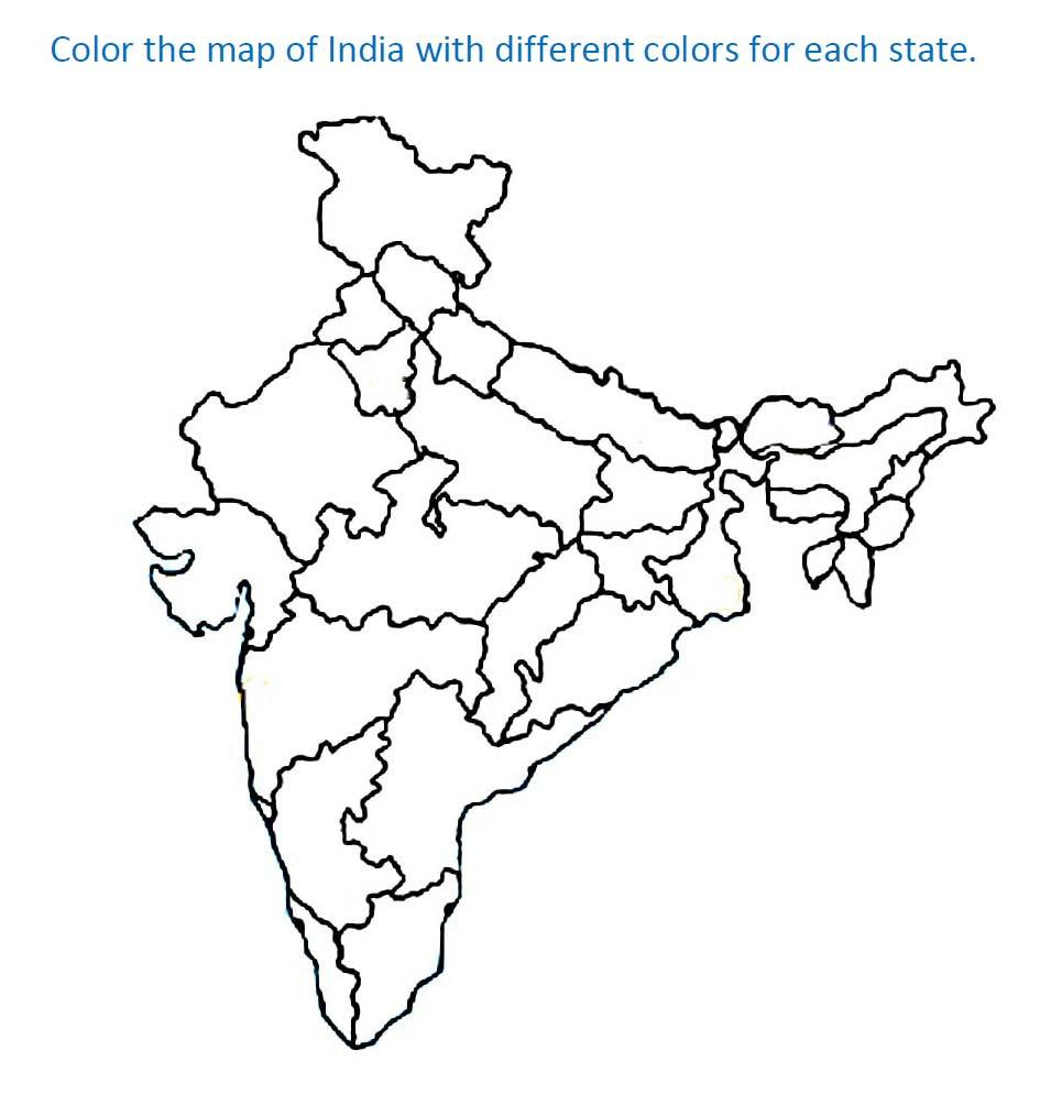 Printable India Map Coloring Pages