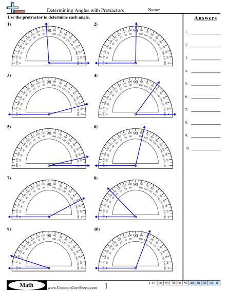 Protractor Practice Worksheet Worksheets