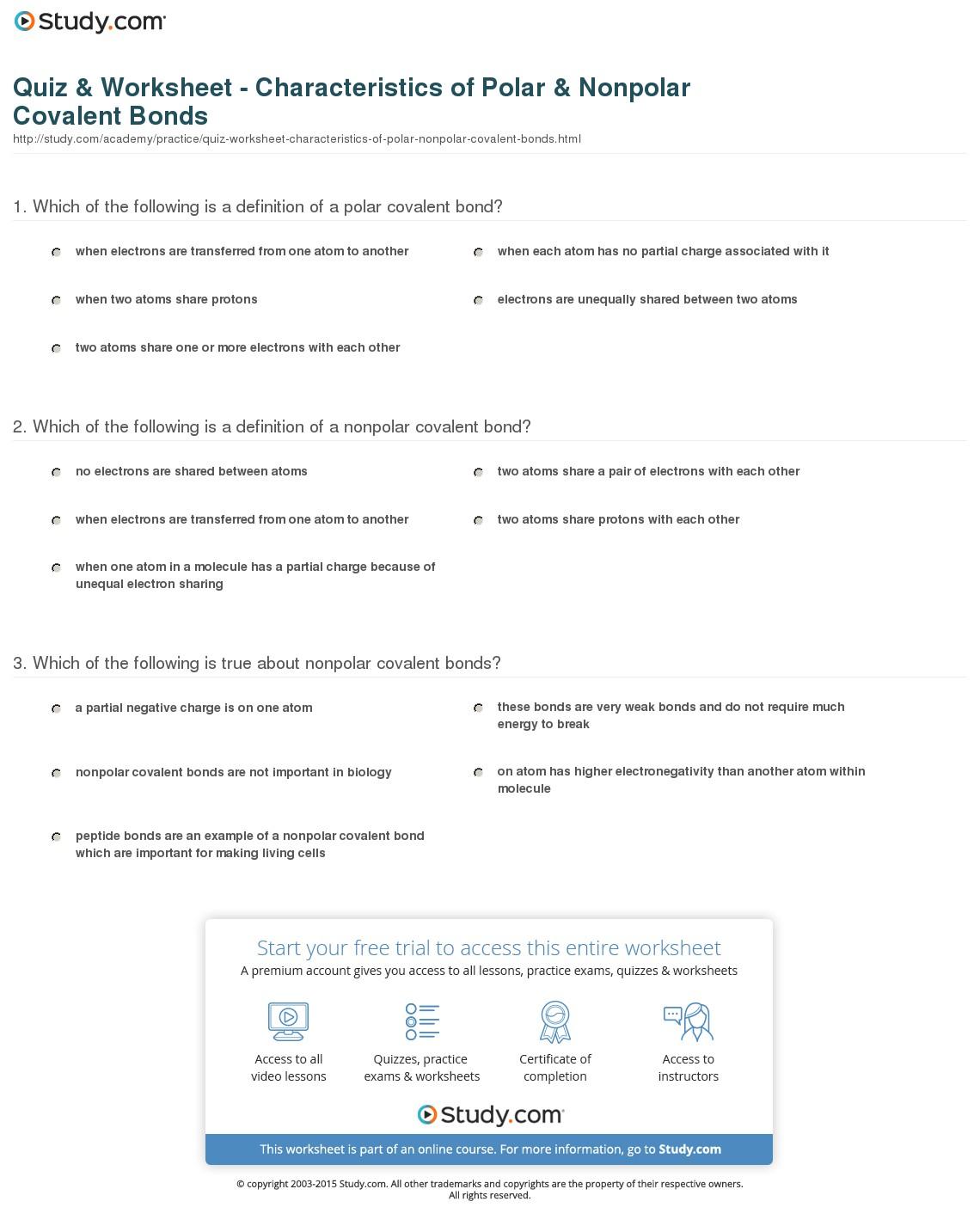 Covalent Bonds Worksheets Middle School