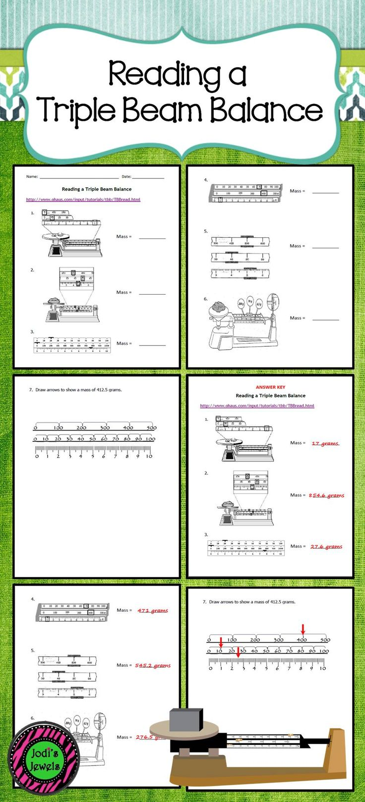 Reading Triple Beam Balance Practice Worksheets