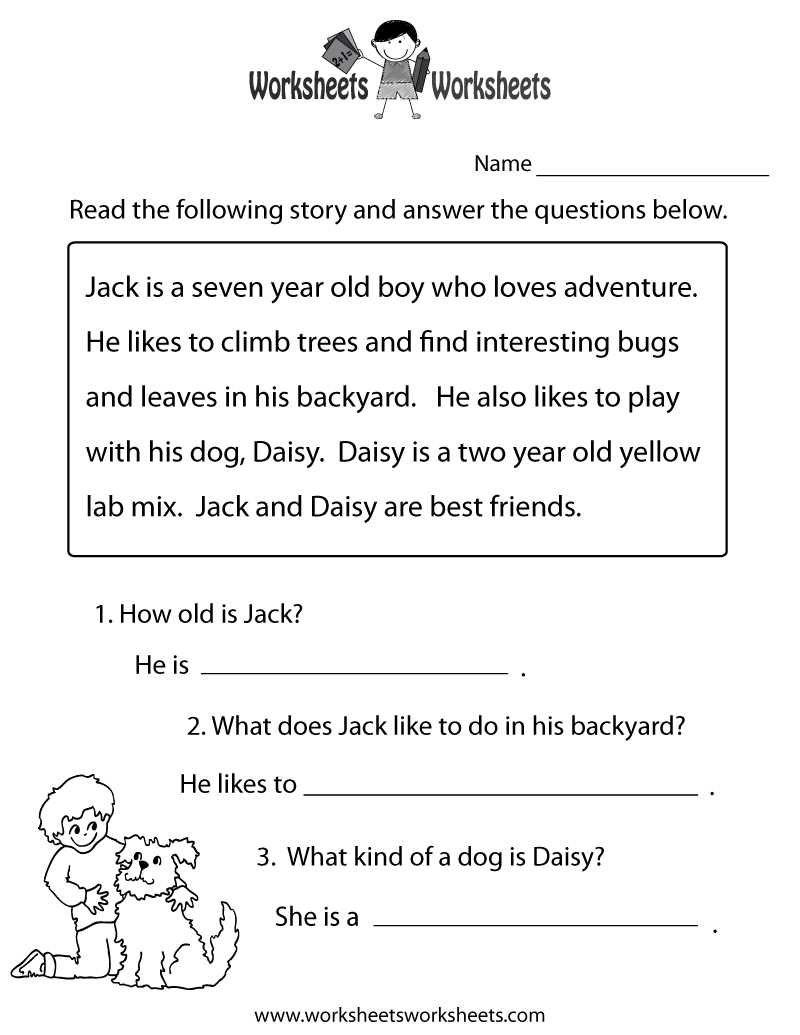 Reading Comprehension Homework Year Free Printable Worksheets